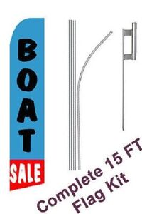 Boat Sale Tall Advertising Banner Flag Complete Sign Kit 2 5 Feet Wide