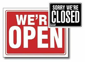 2pc 9 X 12 Open Sign W Closed Sign On Back
