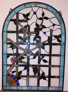 Arched Stained Glass Window Flowers On Trellis