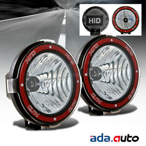 2x 7 Hid Black Off Road Lights Flood Rally Driving Lamps For Suv Baja Pickup