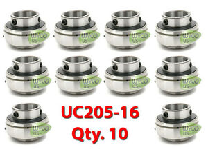 10 Insert Bearings Axle Mounted 1 Id Uc205 16 Grease Ring Self Aligning