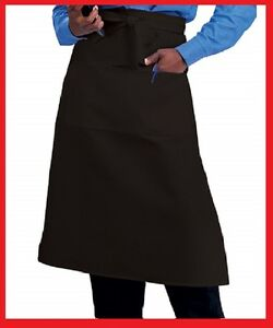 12 Waiter Waitress Bistro Aprons Black Or White 2 Pocket Premium Polyester