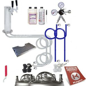 Ultimate Tower 2 Tap Home Brew Kegerator Kit Ball Lock No Tank