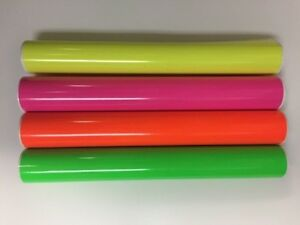 4 Rolls Fluorescent Vinyl Yellow Pink Green Orange 12 X 5 Feet Total 20 Feeet