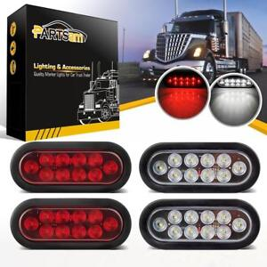 4xred White 10 Led 6 Oval Trailer Truck Stop Turn Backup Tail Light Flush Mount