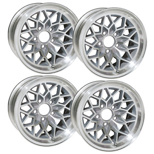 15x8 Trans Am Snowflake Wheel Set Of 4 W Silver Insets Fits 1967 1981 New