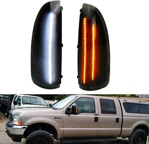 Smoked Lens Amber Led Side Mirror Marker Lights For Ford F250 F350 Superduty