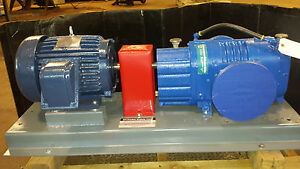 New Tuthill Blower Pump 3206 On Base With Gear Reduction Variable Speed Motor