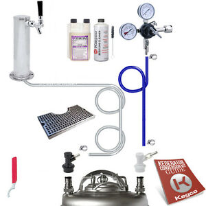 Kegco Kegerator Homebrew Keg Tap Draft Beer Tower Conversion Kit Drip Tray