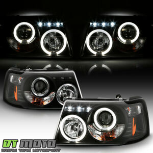 Blk 2001 2011 Ford Ranger Led Halo Projector Headlights W Built In Corner Lamps