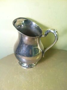 Fb Rogers Silver Co1883 Vintage Silverplate Water Pitcher 3707 With Ice Lip
