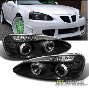 Black 2004 2008 Pontiac Grand Prix Led Dual Halo Projector Headlights Left right