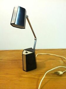 Vintage Mid Century Modern Desk Lamp Hamilton Black With Silver Trim Stickers