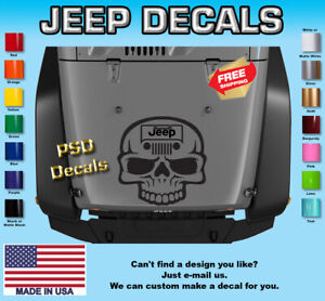 Hood Vinyl Decal Graphics Fits Jeep Wrangler Skull H 140