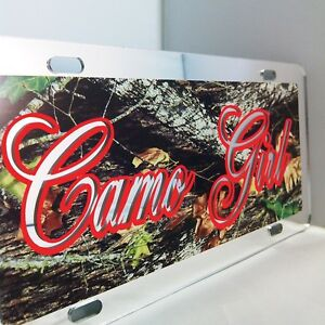 Camo Girl Camouflage License Plate Beautiful Handcrafted Camo Mirror Car Tag
