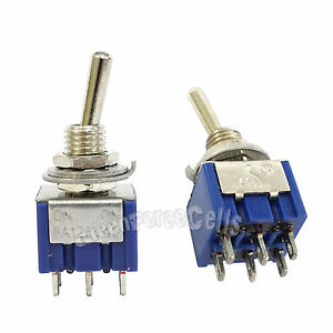 100 Pcs 6 Pin Dpdt On on 2 Position 6a 250vac Mini Toggle Switches Mts 202