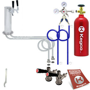 2 Keg Tap Kegerator Conversion Kit Draft Beer Tower Sankey D Kegco