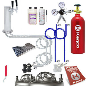 Ultimate Tower 2 Tap Ball Lock Keg Kegerator Conversion Kit W 5 Lb Tank