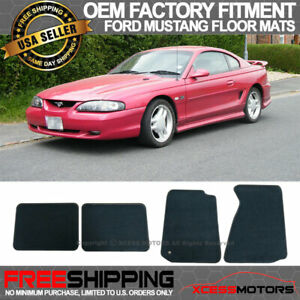 Fit 94 98 Mustang Oe Factory Fitment Floor Mats Carpet Front Rear Nylon Black
