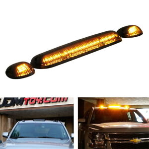 Smoked Lens 3pc Cab Roof Marker Running Lights W Amber Led Lamps For Truck Suv