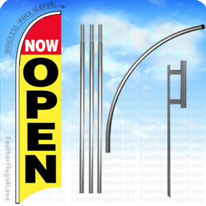 Now Open Windless Swooper Feather Flag 15 Kit Banner Sign Yb