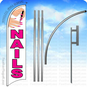 Nails Windless Swooper Feather Flag 15 Kit Manicure Salon Banner Sign Wb