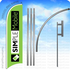 Simple Mobile Windless Swooper Flag 15 Kit Feather Banner Sign Gb