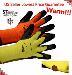 Warm Safety Snow Shovel Winter Insulated Double Lining Rubber Coated Work Gloves