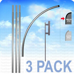 3 Pack Deluxe Windless Pole Ground Spike For Swooper Feather Flag Kit