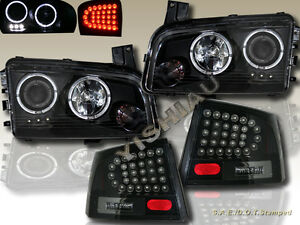 2006 2008 Dodge Charger Two Halo Led Projector Headlights Led Tail Lights