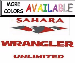 Multiple Colors 2 Jeep Jk Sahara Wrangler Unlimited Vinyl Sticker Replacements
