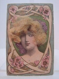 Antique Victorian Woman Postcard Real Hair Old Hand Tinited Color Post Card
