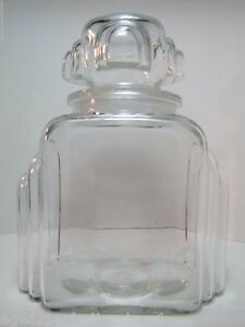 Antique Art Deco Apothecary Candy Jar Drug Store Pharmacy Deco Era Clear Glass
