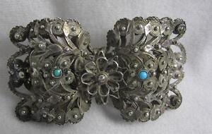 Superb Antique Silver Cannetille Belt Buckle W Turquoise 19th C Middle East