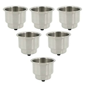 6pcs Stainless Steel Cup Drink Holders Car Boat Truck Camper Rv Universal Marine