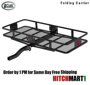 Curt Trailer Hitch Mount Folding Cargo Rack Basket Carrier 60 X 24 X 6 Fits 2