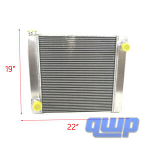 Ford Mopar Aluminum Universal Racing Radiator 2 Row Single Pass 22 X 19 X 3