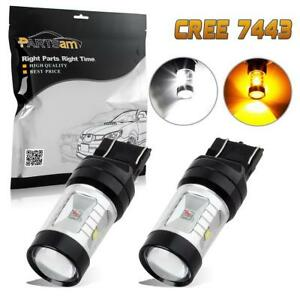 2pcs 7443 Switchback 3 Amber 3 White Cree Chip Turn Signal Light Projector Led