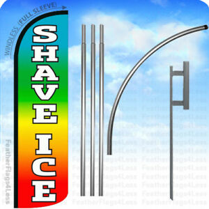 Shave Ice Windless Swooper Flag Kit Feather Shaved Ice Sign Rainbow Q