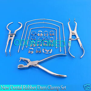New Dental Rubber Dam Clamp Set 21 Pcs Dentist Orthodontic Instrument Dn 493