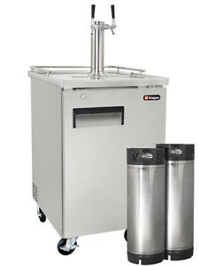 Kegco Commercial Grade Homebrew Kegerator Dual Tap Stainless Steel With Kegs