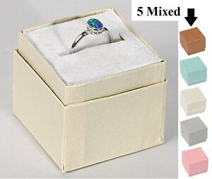Affordable Lot Of 100 Embossed Ring Boxes 5 Mixed Colors Jewelry Box Assorted