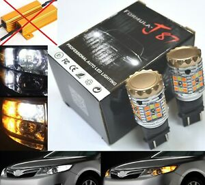 Smd Led Light Switchback Orange Amber 6k White Two Bulbs 3157 Turn Signal Drl