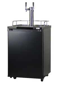 Home Brew Dual Faucet Kegerator Black Cabinet With Matte Black Door