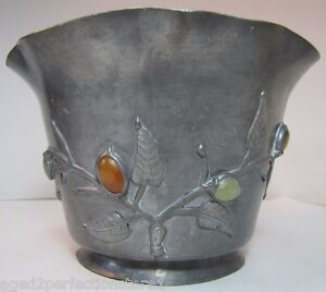 Antique Chinese Pewter Jade Stones Bowl Planter Ornate High Relief Flower Leaves