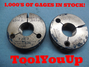 1 18 Ns 3 Thread Ring Gages Go No Go 1 000 P d s 9639 9603 Tooling Tool