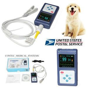 Veterinary Monitor Fingertip Pulse Oximeter Ear tongue Spo2 Probe Software us