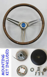 Chevelle Nova Camaro Impala Grant Steering Wheel Walnut 15 Blue Bowtie