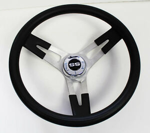 1967 Camaro Grant Black Steering Wheel Ss Center Cap 16 1 2 Shallow Dish