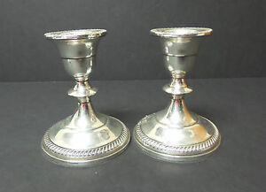 Pair Vintage Fisher Sterling Silver 4 5 Weighted Candlesticks 874